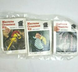New Lot Of 3 Macrame Christmas Ornament 235 Angel Candy Cane Horse Knot House