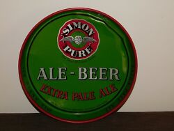 Vintage Bar 11 3/4 Across Simon Pure Beer And Ale Metal Serving Tray