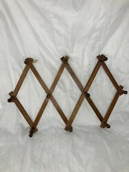 Vtg Wooden Towel Mcm Hat Jewelry Rack Accordion Collapsible Folding Wood 10 Peg