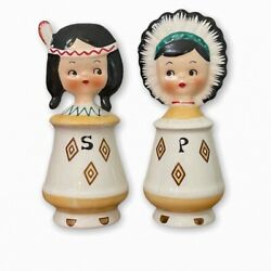 Vintage Pixieware Native American Indians Salt And Pepper Shakers Japan 1950s
