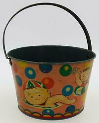 Large Vintage Japanese Sand Pail Or Bucket- Children Swimming With Bubbles