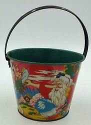 Vintage 1950's Japanese Tin Sand Pail- Old Man And Boy In Traditional Dress
