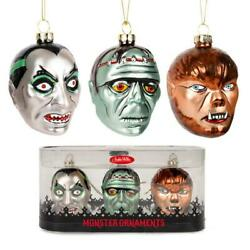 Monster Ornaments Set Of 3 Dracula Frankenstein Wolfman Glass Christmas Tree New