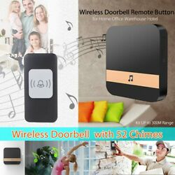 Wireless Doorbell Remote Button Music Door Bell Chime Kit With 52 Chimes