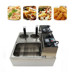110v Electric Noodle Pasta Cooking Machine Countertop Deep Fryer Double Cylinder