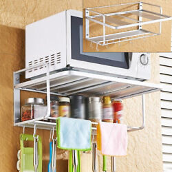 Microwave Oven Rack Wall Mount Microwave Shelf Stand Kitchen With Towel Bar New