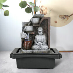 Garden Ornament Fountain Buddha Zen Indoor Table Top Water Feature W/ Led Lights