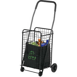 Folding Utility Cart Shopping Rolling 4-wheel Grocery Laundry Hand Truck