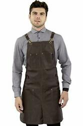 Real Leather Apron - Brown Leather Body, Pockets And Crossback Straps....