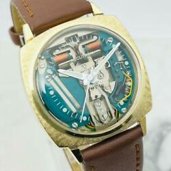 Bulova Accutron Menand039s Watch 1960s Spaceview 214 M6 Gold Tuning Fork Wristwatch