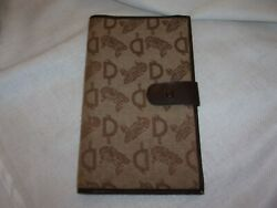 D logo fabric leather brown camel travel leather vintage wallet 8x5quot; $3.81