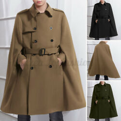 Menand039s Gothic Shawl Poncho Cloaks Double Breasted Trench Jacket Cape Overcoats Us