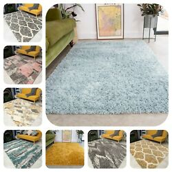 Thick Soft Living Room Shaggy Rugs Small Large Moroccan Geometric Shag Rug New
