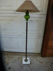 Antique Floor Lamp - Green Glass Marble Base - No Shade