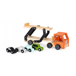 Wooden Toy Truck Car Vintage Transporter With 4 Cars Set For 3 Years Kids New