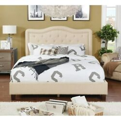 Queen Size Upholstered Button Tufted Platform Bed W/ Nail N/a Queen