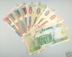 Zambia Polymer / Paper Money Set Of 9 Pieces Unc