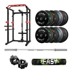 Ifast Power Cage Workout Station With 340lbs Weight Barbell Plates And 7ft Bar