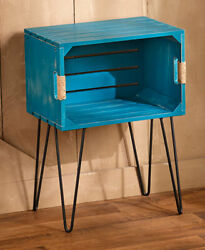 Peacock Blue Wooden Crate End Side Table Country Farmhouse Decor