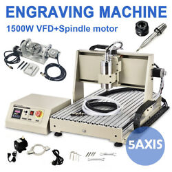1.5kw Usb 5 Axis Spindle+vfd 6040 Engraver Cnc Router Milling Machine+handrad Us