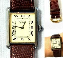 Tank Menand039s Vermeil 925 Leather Watch Manual Winding Wristwatch Vintage