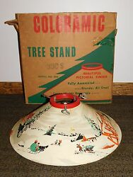 Vintage Old Coloramic Horse Children Snow Metal Christmas Tree Stand