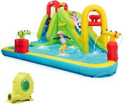 Costway Kids Inflatable Bounce House Water Slides Bouncy W/735w Blower