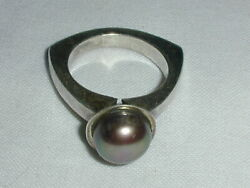 Vintage Sterling Silver Modernist Tahitian Pearl Ring- Size 5 3/4