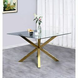 Best Quality Furniture Contemporary Gold Metal And Glass Gold Finish Glam, Moder