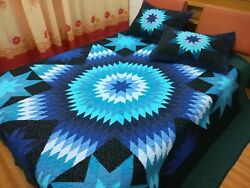 King Size Machine Pieced And Quilted Patchwork Quilt J-158b
