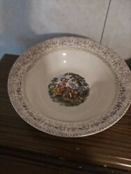 Cronin China Co. Dancing Colonial Couple 9 3/8 Round Vegetable Bowl Made In Usa
