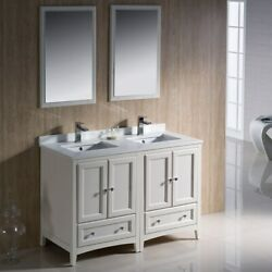 Fresca Oxford 48-inch Antique White Traditional Double Sink Antique White Double