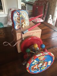 Vtg Gong Bell Mfg Co Chime Hobby Horse Toy In Original Box Must See