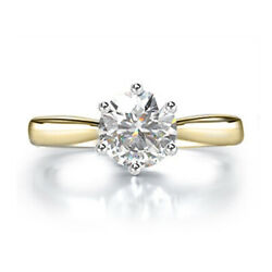 Stunning 0.80 Ct Real Diamond Engagement Ring Solid 14k Yellow Gold Size 6 7 8 9