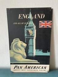 Pan Am Airways Airlines London 1950s Vintage Travel Poster England 22x35 Rare