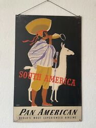 Pan Am Airways Airlines South America 1950s Vintage Travel Poster 22x35 Rare