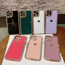 Cute Heart Bling Diamond Case Cover For Iphone 12 11 13 Pro Max Xs Xr 7 8 Plus