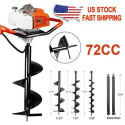 62/72cc Post Hole Digger Gas Powered Earth Auger Borer Fence Ground Drill W.bits