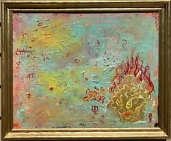 Oil Painting On Canvas, Fantasy Abstract Style, Signed S.graff,coa Titled Key