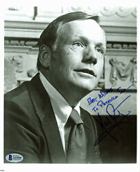 Neil Armstrong Best Wishes Signed 8x10 Black And White Photo Bas A11010
