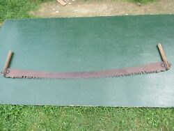 Great Vintage Crosscut Saw Tool + 66 Long Blade With Two Wooden Handle