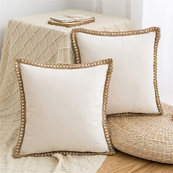 2pack Throw Pillow Cover Cushion Decorative Farmhouse Trimmed Tailored Edges