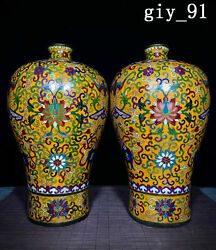 12.2 A Pair Chinese The Qing Dynasty Cloisonne Enamel Tangled Lotus Vase