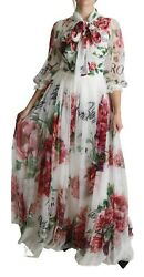 Dolce And Gabbana Dress Silk White Floral Rose Print Floor Length It36/2/xs 5400