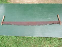 Great Vintage Crosscut Saw Tool + 67 Long Blade With Two Wooden Handle