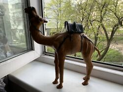 Vintage Genuine Leather Standing Camel Figurine Statue Large Nativity Very Good