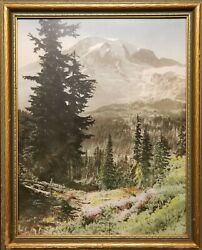 Early Framed Hand Tinted Photo By Norman Edson Of Mt. Rainier From Paradise.