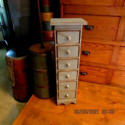 Country Primitive 6-drawer Standing Apothecary Cabinet - 32 Tall - Country Blue
