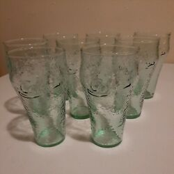 Vintage 16oz. Coca Cola Dimple Glasses By Indiana Glass Co. Set Of 8