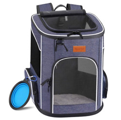 Foldable Pet Backpack Carrier For Small Cats And Dogs With Inner Safety Strap